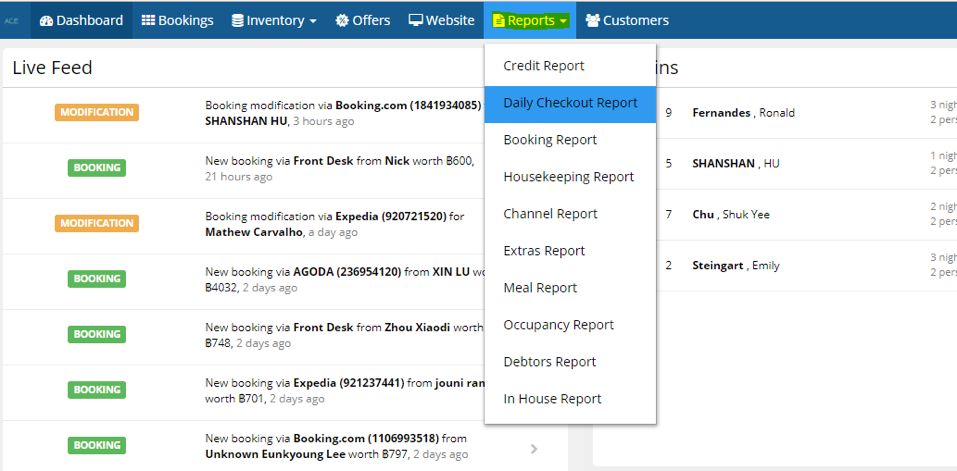 hotel management system reports